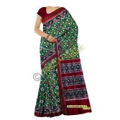 Sunanda bottle green & maroon double Ikat spunsilk saree-S0016