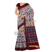 Sunanda white & maroon double Ikat spunsilk saree-S0017