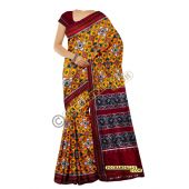Sunanda yellow & maroon double Ikat spunsilk saree-S0018