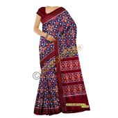 Sunanda navy blue & maroon double Ikat spunsilk saree-S0019