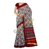Sunanda white & maroon double Ikat spunsilk saree-S0020