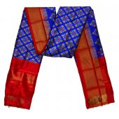 Urvashi blue & red Ikat silk dupatta/chunni-SD198