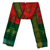 Urvashi orange red & green Ikat silk dupatta/chunni-SD202