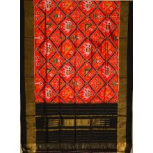 Orange & black Ikat silk dupatta/chunni-SD138