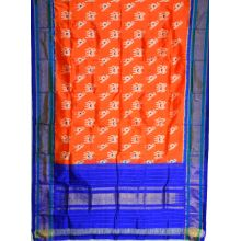 Orange & Blue Ikat silk lehenga/pavada -SD163