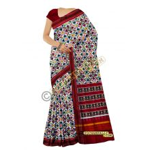 White & Maroon double Ikat spunsilk saree-S0020