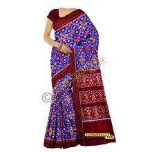 Blue & Maroon double Ikat spunsilk saree-S0021