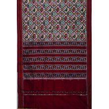 White & Maroon double Ikat spunsilk saree-S0022