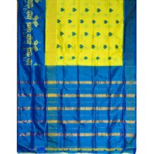 Yellow & Blue Ikat semikhatan silk saree-VS0151