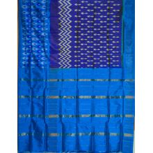 Sky blue & Royal Blue Ikat semikhatan silk saree-VS0170