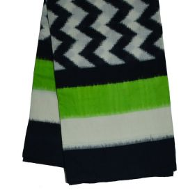 White, Parrot green & Black Ikat mercerised cotton saree-CS012