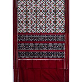 White & Maroon double Ikat spunsilk saree-S0017
