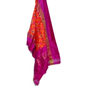 Orange & magenta Ikat silk dupatta/chunni-SD185