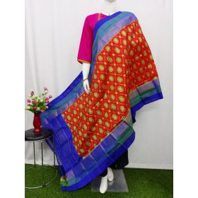 Brick Red & Blue Ikat silk dupatta - ASD405