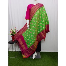 Light green & Pink Ikat silk dupatta - ASD407