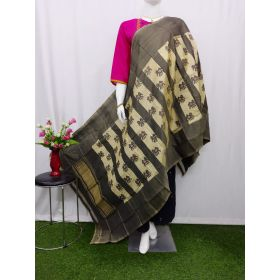 Cream & Grey Ikat silk dupatta - ASD412