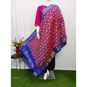 Red & Blue Ikat silk dupatta - ASD413