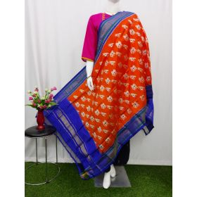 Orange red & Blue Ikat silk dupatta - ASD419