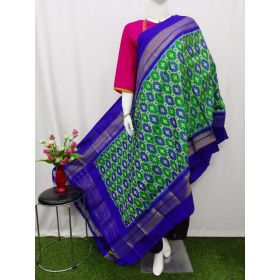 Green & Blue Ikat silk dupatta - ASD433