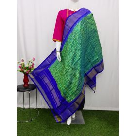 Green & Blue Ikat silk dupatta - ASD434