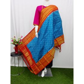 Sky blue & Red Ikat silk dupatta - ASD439