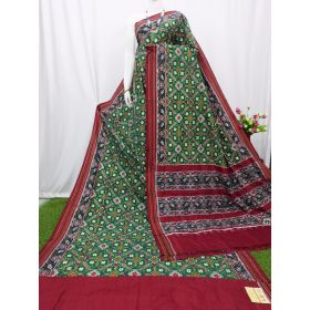 Bottle green & Maroon double Ikat spunsilk saree-S0016