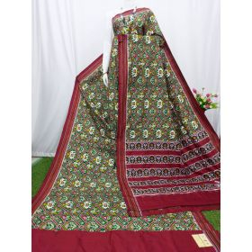Green & Maroon double Ikat spunsilk saree-S0025