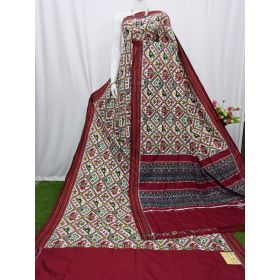 White & Maroon double Ikat spunsilk saree-S0027