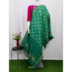 Sea Green Ikat silk dupatta - ASD465
