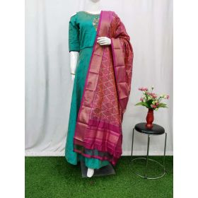 Indian red & Magenta Ikat silk dupatta - ASD497