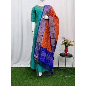 Orange & Blue Ikat silk dupatta - ASD516