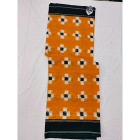 Mustard & Black Double Ikat mercerised cotton saree-ASKCS109