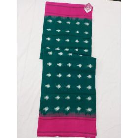 Teal green & Pink Double Ikat mercerised cotton saree-ASKCS112