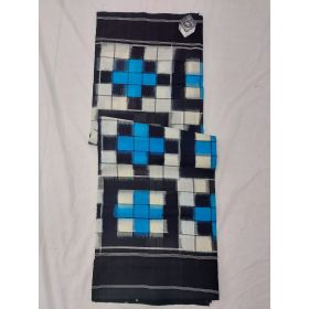 White, Sky blue & Black Double Ikat mercerised cotton saree-ASKCS113