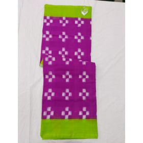 Purple & Lemon Green Double Ikat mercerised cotton saree-ASKCS116