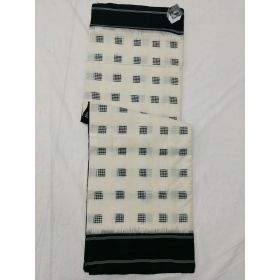 White & Black Double Ikat mercerised cotton saree-ASKCS117