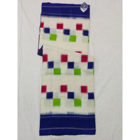White & Blue Double Ikat mercerised cotton saree-ASKCS119