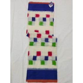 White & Blue Double Ikat mercerised cotton saree-ASKCS121