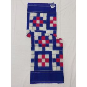 White & Blue Double Ikat mercerised cotton saree-ASKCS126