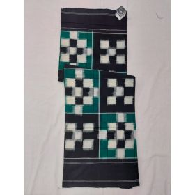 Teal green & Black Double Ikat mercerised cotton saree-ASKCS127