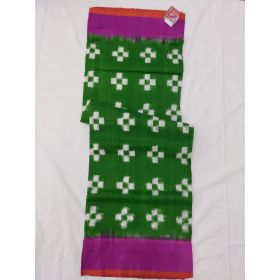 Mehendi Green & Purple Double Ikat mercerised cotton saree-ASKCS131
