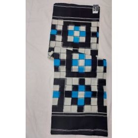 White & Black Double Ikat mercerised cotton saree-ASKCS136