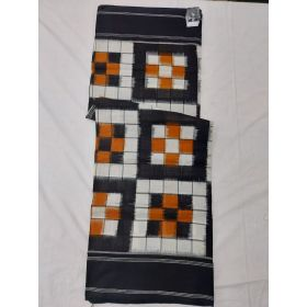 White & Black Double Ikat mercerised cotton saree-ASKCS140
