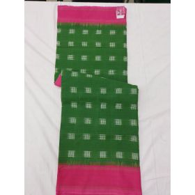 Mehendi Green & Pink Double Ikat mercerised cotton saree-Mehendi Green & Pink Double Ikat mercerised cotton saree-ASKCS143
