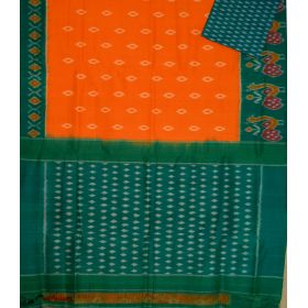Mustard & Green Ikat mercerised cotton saree-CS106
