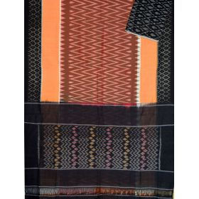 Brown & Black Ikat mercerised cotton saree-CS108