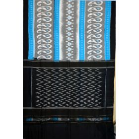 Sky blue & Black Ikat mercerised cotton saree-CS109