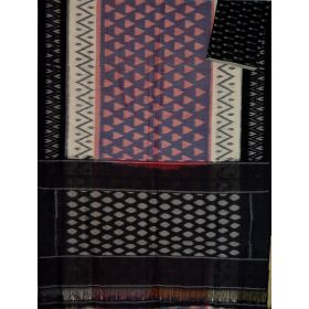 Violet Grey & Black Ikat mercerised cotton saree-CS111