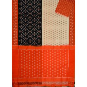 White & Rust Ikat mercerised cotton saree-CS113
