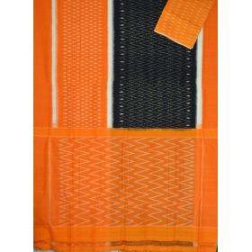 Black & Mustard Ikat mercerised cotton saree-CS120